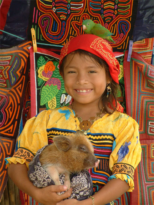 Kuna Yala Indian Girl with Molas - San Blas Islands, Panama